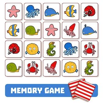 Gioco di memoria per bambini in età prescolare, carte vettoriali con animali marini