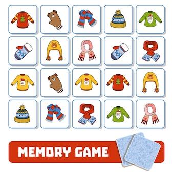 Gioco di memoria per bambini in età prescolare, carte vettoriali con accessori invernali