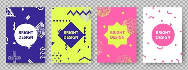 Memphis copre il design. poster di moda, moderno volantino grafico geometrico. carte luminose per feste creative, sfondo di decorazione astratta hipster. illustrazione vettoriale elegante di colore retrò Vettore Premium