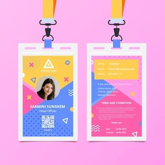 Modello di carta d'identità anteriore e posteriore di memphis
