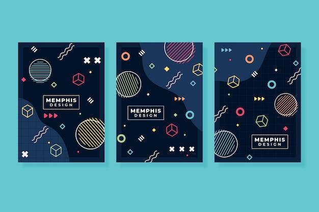 Collezione di copertine dal design geometrico di memphis