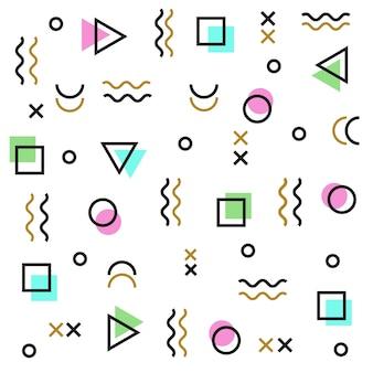 Modello di memphis di forme geometriche. modello colorato stile memphis
