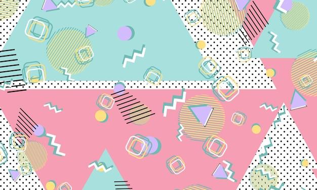 Modello di memphis. forme geometriche. stile hipster anni '80-'90. colore di sfondo astratto. illustrazione di vettore.