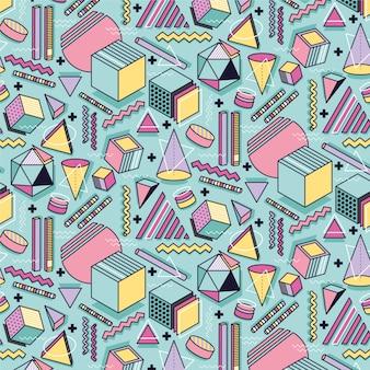 Memphis modello astratto senza soluzione di continuità. elementi geometrici colorati forme sfondo vettoriale. carta da parati di stile degli anni '90.