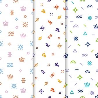 Memphis seamless pattern anni '80 -'90 con 3 concetti diversi.