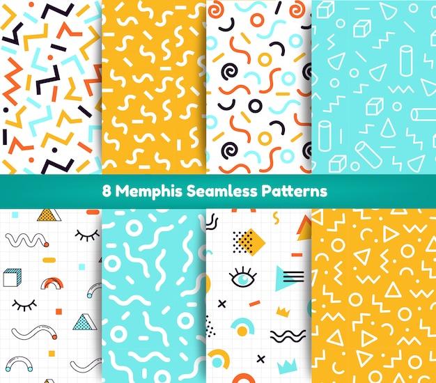Collezione seamless pattern di memphis