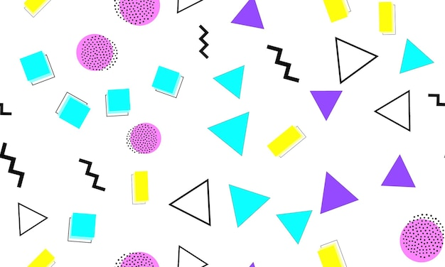 Modello senza cuciture di memphis. sfondo divertente. colori rosa, blu, gialli.