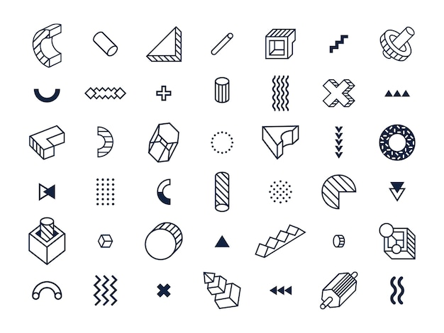 Forme geometriche in stile memphis.