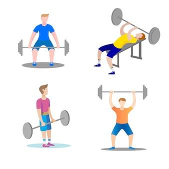 Gli uomini sono impegnati fitness in palestra. design piatto. illustrazione vettoriale. concetto del sito web