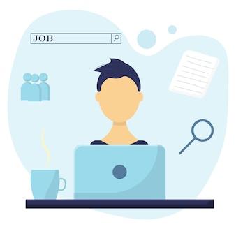 Gli uomini cercano lavoro ragazzo con laptop concetto di ricerca di lavoro