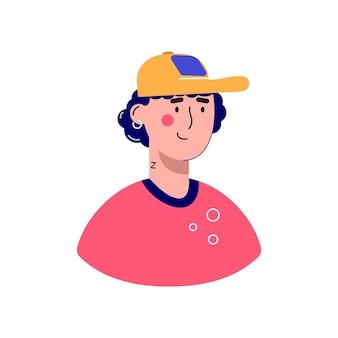 Personaggio avatar maschile. illustrazione piana di vettore della gente allegra e felice. ritratti maschili, di gruppo, di squadra. ragazzo adorabile alla moda