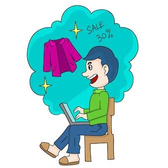 Gli uomini acquistano articoli di moda nei negozi di laptop online. emoticon adesivo illustrazione dei cartoni animati