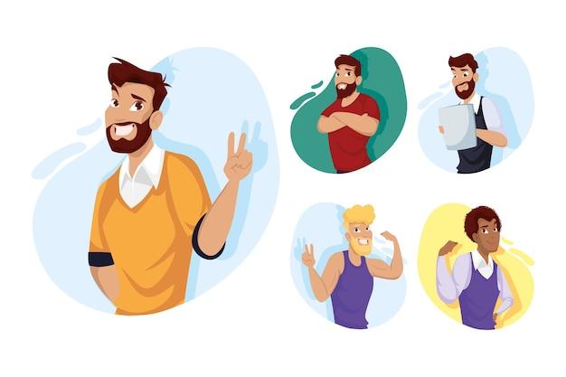 Uomini cartoni animati design, uomo ragazzo maschio persona persone umani e social media tema illustrazione vettoriale