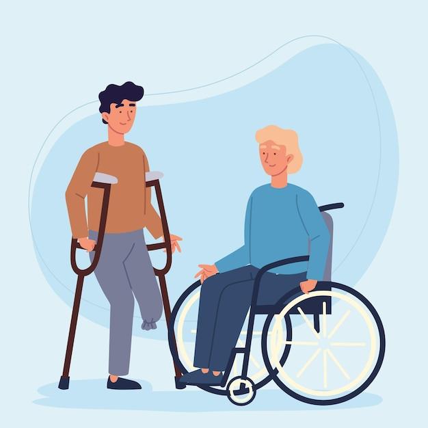 Personaggio degli uomini handicappato