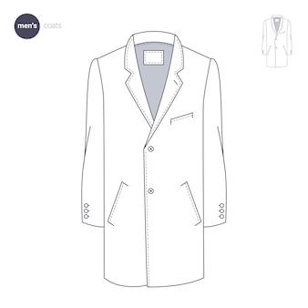 Cappotto da uomo. stile di linea sottile di vestiti.