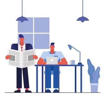 Uomini alla scrivania con laptop e notizie nel design dell'ufficio, forza lavoro di oggetti aziendali e tema aziendale