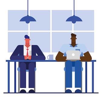 Uomini alla scrivania con il computer portatile nel design dell'ufficio, forza lavoro di oggetti aziendali e tema aziendale
