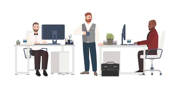 Uomini vestiti con abiti da lavoro che lavorano in ufficio. personaggi dei cartoni animati maschili in piedi, bevendo caffè e seduti alle scrivanie con i computer