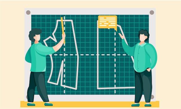 Gli uomini spiegano i principi per costruire modelli alla lavagna Vettore Premium