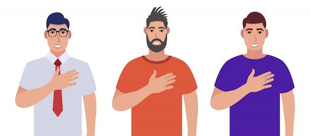 Gli uomini esprimono un sentimento positivo alle persone, tengono le mani sul petto o sul cuore. set di caratteri
