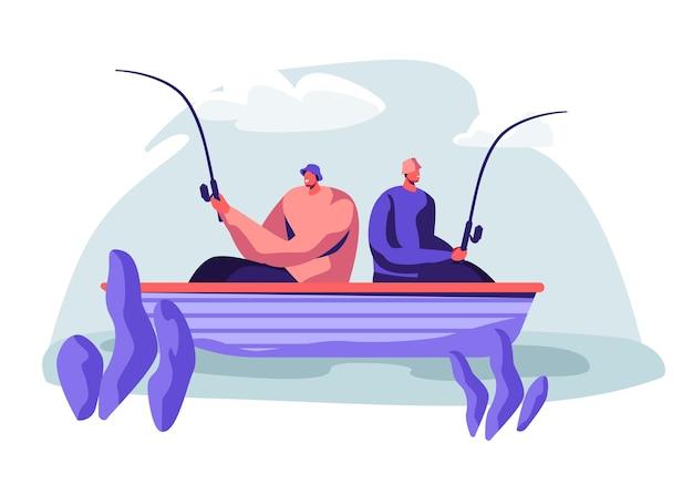 Uomini che pescano in barca sul lago calmo o sul fiume al giorno d'estate. illustrazione di concetto