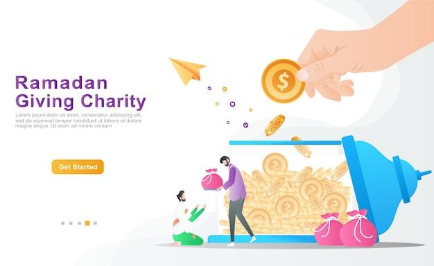 Gli uomini fanno doni ai poveri che ne hanno più bisogno. il concetto di mano che dà una moneta di donazione Vettore Premium
