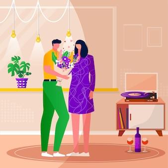 Uomini che regalano fiori alle donne, che ballano in famiglia felice, ascoltano musica con dischi in vinile. coppia che trascorre del tempo insieme. marito e moglie si godono l'intrattenimento domestico. illustrazioni vettoriali di interni piatti