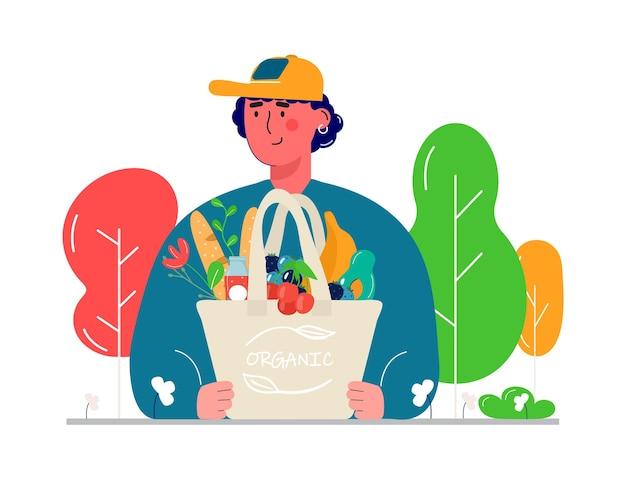 Uomini che tengono borse della spesa ecologiche con verdure, frutta e bevande salutari. latticini in rete shopper ecocompatibile riutilizzabile. zero sprechi, concetto plastic free. design piatto alla moda