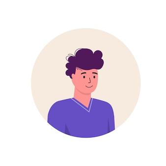 Carattere dell'avatar dell'icona degli uomini. illustrazione piana di vettore della gente allegra e felice. cornice rotonda. ritratti maschili, di gruppo, di squadra. ragazzi adorabili isolati su sfondo bianco