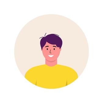 Personaggio avatar alla moda dell'icona degli uomini. illustrazione piana di vettore della gente allegra e felice. cornice rotonda. ritratti maschili, di gruppo, di squadra. ragazzi adorabili isolati su sfondo bianco