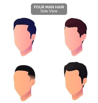 Vista profilo uomo taglio di capelli e vista laterale della testa, collezione di acconciature maschili moderne
