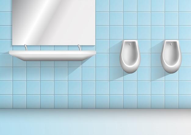 Uomini bagno pubblico minimalista realistico