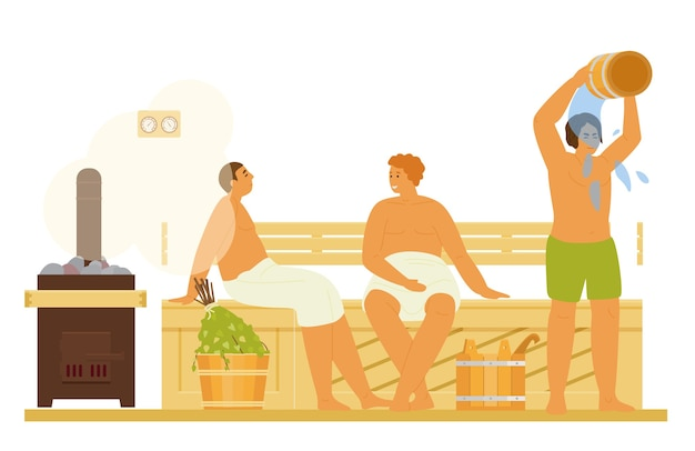 Uomini che si rilassano, fanno il bagno di vapore, si inzuppano d'acqua nella sauna o nella banya attività sana. illustrazione piatta.
