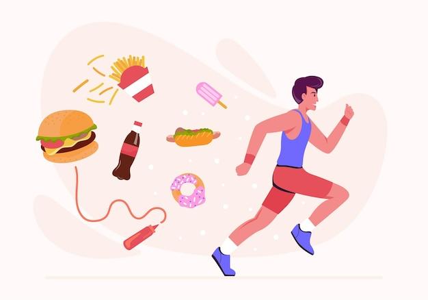 Gli uomini corrono per bruciare calorie da cibo e snack come ciambelle, bevande dolci, patatine fritte e hamburger. illustrazione in stile piatto