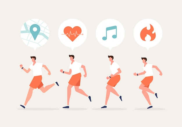 Uomini che corrono carattere con smartwatch. stile di vita sano con illustrazione di vettore di concetto di dispositivi di tecnologia.
