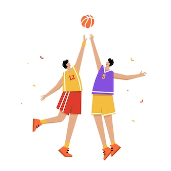Manifesto del campionato di basket maschile. palla di tiro del giocatore di basket al cerchio. bandiera sportiva