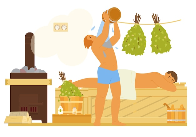 Uomini in sauna rilassante, versando acqua. bagno interno panca in legno, scope di betulla, fornello con legna da ardere, secchi, termometro, oli essenziali. illustrazione piatta.