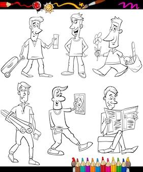Gli uomini impostano il libro da colorare del fumetto