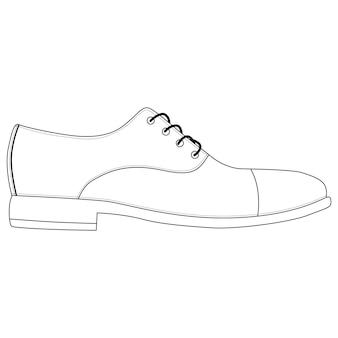Scarpe da uomo isolate. oxford classica. icone di scarpe uomo stagione maschile. illustrazione di vettore di calzature disegno tecnico