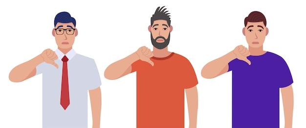 Uomini che mostrano i pollici giù gesto del segno. non mi piace, non sono d'accordo, delusione, disapprovazione, nessun concetto di accordo. set di caratteri