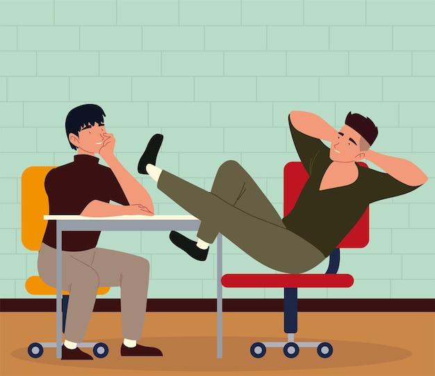 Uomini seduti in ufficio a riposo e procrastinazione