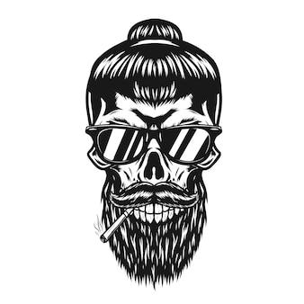 Teschio di uomini con la barba e illustrazione di sigaretta
