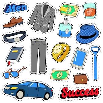 Set di accessori e vestiti da uomo per adesivi, toppe e distintivi. doodle di vettore