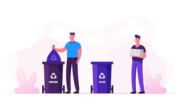 Gli uomini gettano la spazzatura in contenitori speciali con il segno di riciclaggio per rifiuti in plastica e organici. cartoon illustrazione piatta