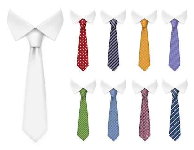 Cravatte da uomo. gli articoli in tessuto per guardaroba maschile stile elegante legano diversi colori e trame collezione di mockup realistici vettoriali. tessuto in tessuto, illustrazione di cravatta accessorio abbigliamento eleganza