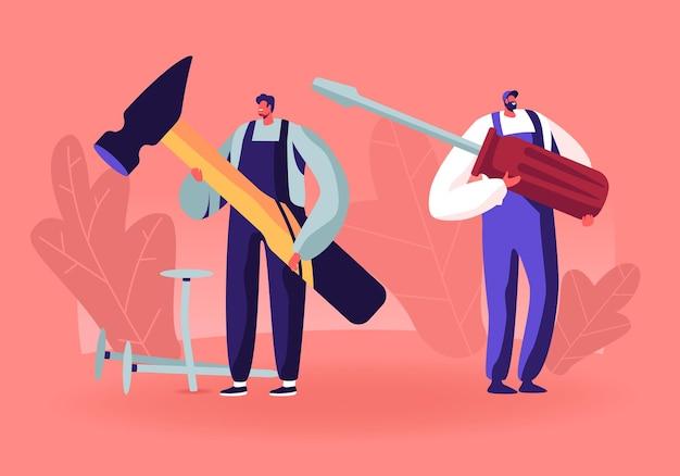 Uomini in uniforme che tengono strumenti enormi martello e cacciavite per riparare la casa di riparazione di tecniche rotte. cartoon illustrazione piatta