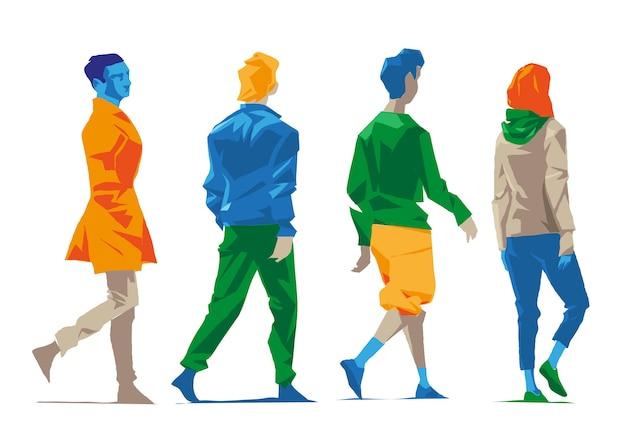 Gli uomini camminano da dietro e di lato