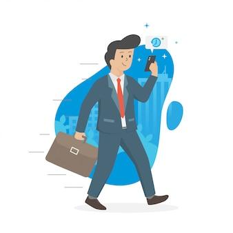Gli uomini camminano e mandano messaggi in ufficio per una riunione