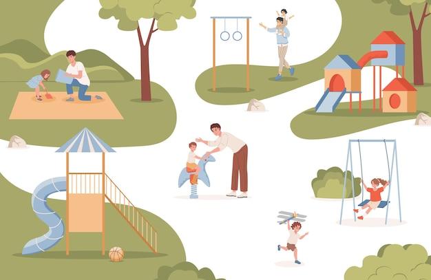 Uomini che camminano e giocano con i loro bambini all'aperto all'illustrazione piana del parco urbano