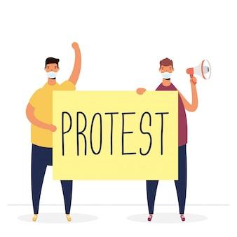 Uomini che indossano maschere mediche che protestano con l'illustrazione del cartello e del megafono